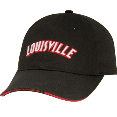 AUL163<br />Black Unstructured LOUISVILLE Brushed Twill Cap
