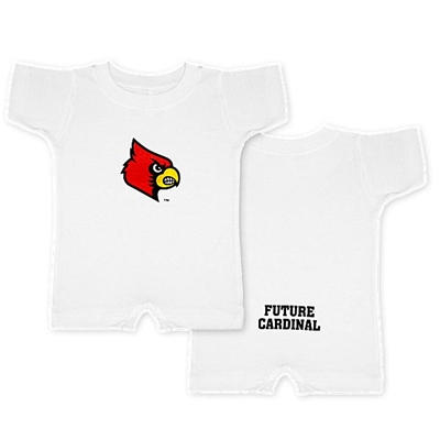 AUL172<br /> White Short Romper with Fighting Cardinal