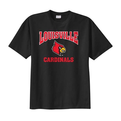 "AUL167<br /> Youth Black Louisville ""Fighting Cardinals"" T-Shirt"