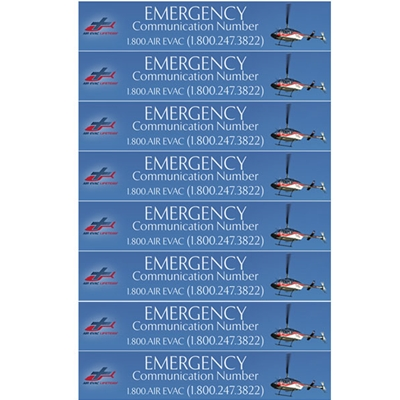 AEL818<br>Air Evac Handset Stickers - Sheet of 8
