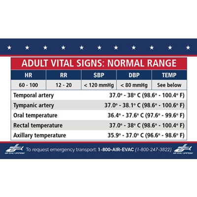 "AEL312<br>3""x 5"" Vital Signs CARD (Pack of 50)"