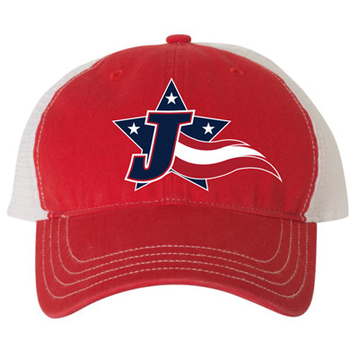 JT305<br>Red Unstructured Snapback Mesh Cap