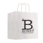 Kraft Paper White Shopping Bag - 10""